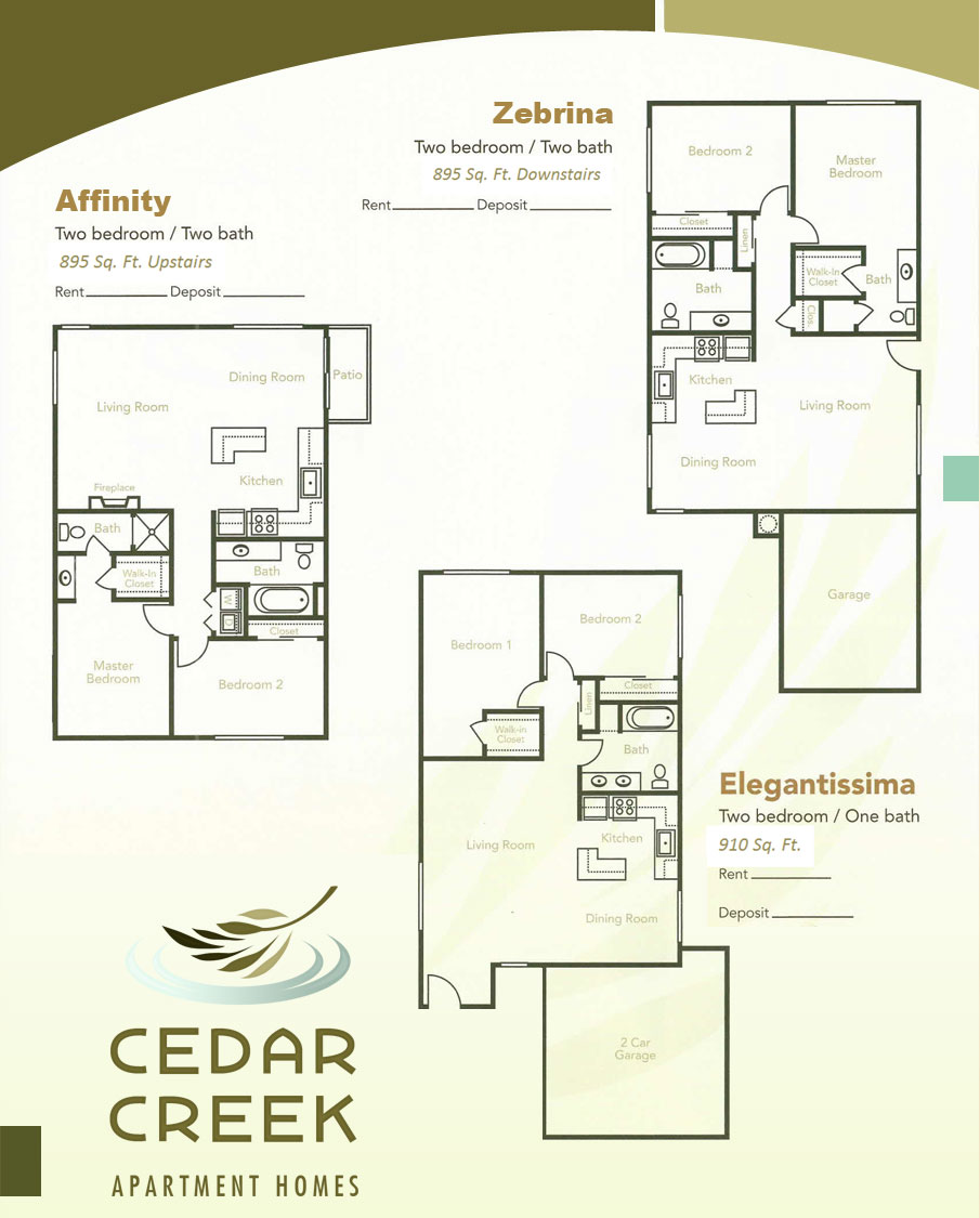 Floor plans cedar creek apartments Cedar homes floor plans